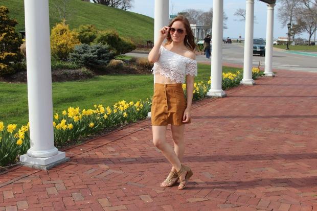 boho ootd, spring fashion 2016, ootd, boho ootd, suede skirt ootd, off the shoulder top ootd
