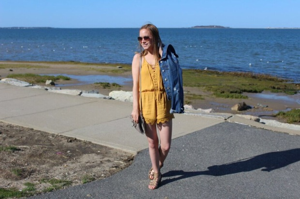 Yellow Romper, Lace-up Romper, Forever 21 Romper, My Favorite Romper