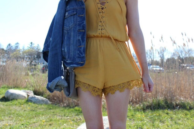 lace up romper, yellow romper, romper, spring fashion 2016,